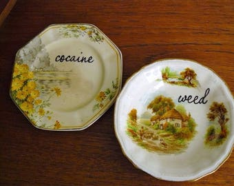 Weed Cocaine duo hand painted  vintage china small plate and bowl set recycled humor drugs party display decor SALE