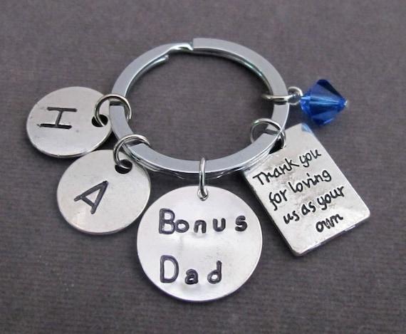 Thank You for Loving Us As Your Own Keychain,Bonus Dad,Step Dad,Bonus Mom,Step Mom,Foster Parent Keychain,Gaurdian Keyring,Free Shipping USA
