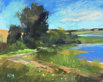 IRELAND Our Lady's Island plein air  Landscape Original Pastel Painting Karen Margulis 8x10