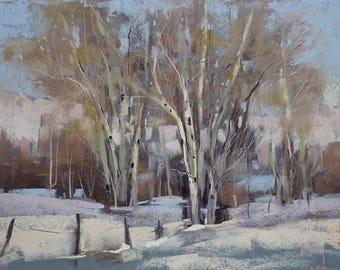 Winter Landscape with Aspens Colorado Contemporary Original Pastel Painting  Karen Margulis