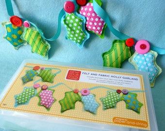 Felt & Fabric Holly Garland - Large Kit - Felt sewing kit