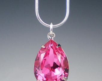 SUMMER SALE 3 Pink Rhinestone Necklaces Wedding Jewelry Bridesmaid Necklace Swarovski Rose Pink MADE To Order