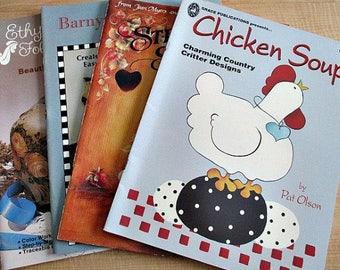4 Tole Decorative Painting Books - Tole Painting Patterns - Painting Supply - Art Supply - Folk Art Style - Barnyard Farmhouse Style