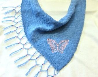Scarflette, Hand Knit Butterfly on Blue