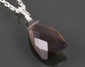 Smoky Quartz Pendant. Sterling Silver Necklace. Unique Triangular Cut. Genuine Gemstone. f17n002