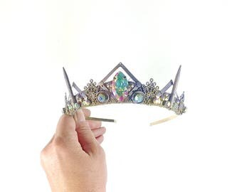 Rainbow Gem and Violet Filigree Crown - by Loschy Designs