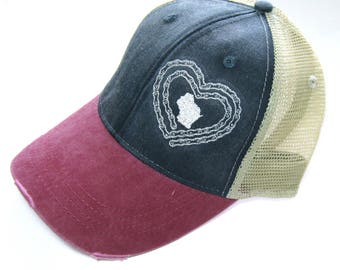 Distressed Snapback Trucker Hat - Love to Bike Wisconsin