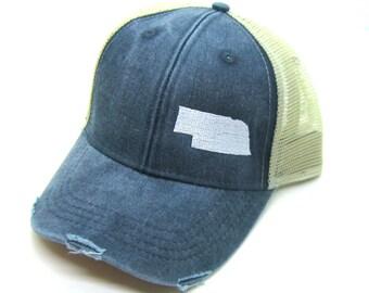 Clearance - Sale - Gift - Gracie Designs Hat - Nebraska white on Navy Snapback Hat