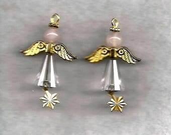Crystal and Quartz Angel Earrings