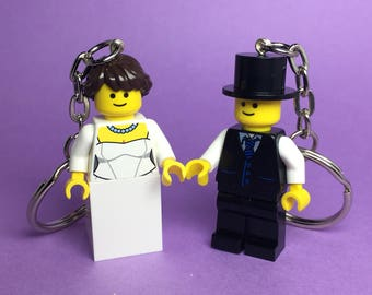 Lego Keychain / Phone Strap (Wedding Bride and Groom) Valentine's Day Gift