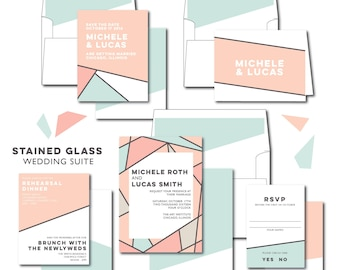 Stained Glass Wedding Invitations Suite Package