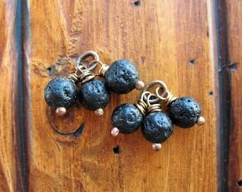 Black Lava Bead Charms - 1 Pair
