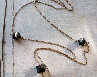 """Mixed Metal Chain and Mystic Coated Black Spinel Necklace - 24"""" in length"""