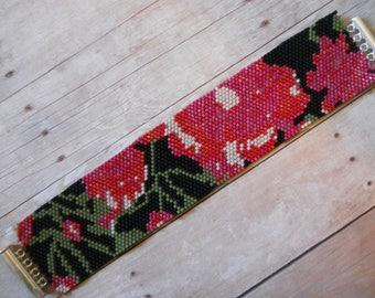 Pattern: Even Count Peyote Stitch Cuff Bracelet, Floral Design, Instant Download
