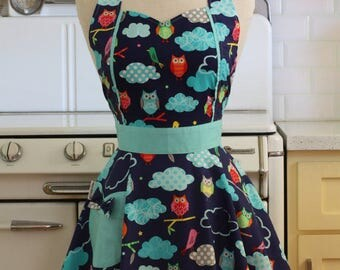 Retro Apron Colorful Owls on Navy - MAGGIE
