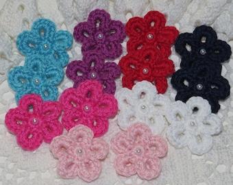 Crochet Flowers Applique Embellishment - MIXED COLORS  -14 Pcs - Cotton