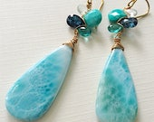 Oceanside Woven Earrings with Kyanite, Apatite, Turquoise, and Larimar