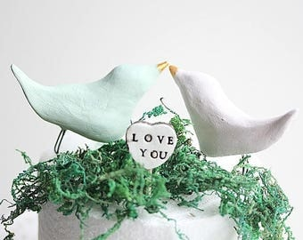 Clay Birds - Love Birds cake topper -Wedding Birds - Mr and Mrs cake topper - Customized with your own colors - Wedding Gift