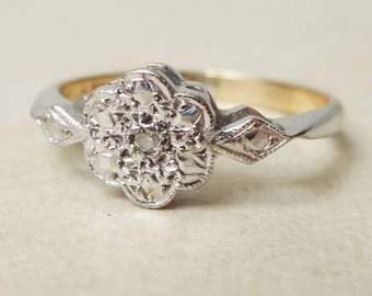 Art Deco Diamond Daisy Flower Ring, 9 Carat Gold and Diamond Engagement Ring Approx. Size US 5.75 / 6