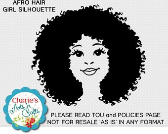 Afro Hair Little Girl Silhouette Clip Art | PNG, SVG, EPS, dxf and jpg Files | Designer Resources | Digital Downloads | African Girl Clipart