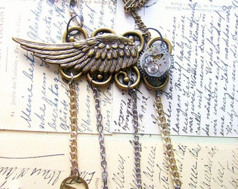steampunk necklace-FREE SHIPPING-watch part necklace-bird wing necklace-angel wing necklace-music necklace-butterfly necklace-jewelry