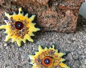 Sunflower Starburst Torch Fired Enamel Charms