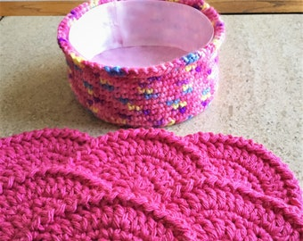 Soft Coaster Set, Hot Pink Crochet Cotton with Matching Container, Six Absorbent Coasters, Washable Coasters