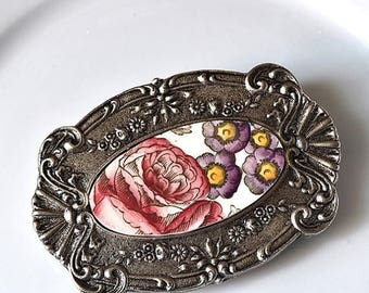 SUMMER SALE Recycled China Belt Buckle - Red Rose