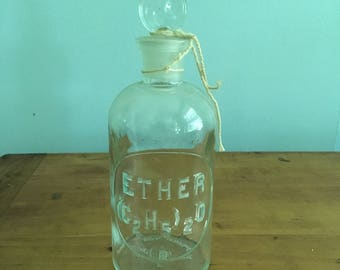 Vintage Ether (C2H5)2O wheaton chemistry bottle with penny stopper and string - no sol vit