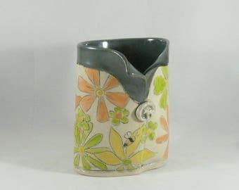 Ceramic Pencil Holder, Save the Bees Pottery Vase,  Toothbrush Holder,  bathroom office Decor, kitchen utensil holder, Soap Dispenser 871