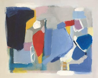 abstract painting primary colors red white and blue modern art pamela munger