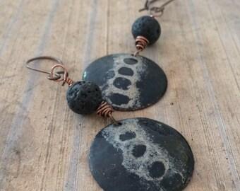 Artisan Enamel and Copper Earrings, Organic Vertebrae,  Black and Tan Torch Fired Enamel Earrings, Handcrafted Enamel Earrings