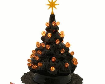 small black ceramic halloween nightmare tree with orange round globe lights and star electric light fixture - Small Black Christmas Tree