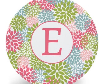 Personalized Flower Plate with Child's Initial - Child's Plate or Bowl - Melamine Plate (Plastic) - colorful floral pink green blue