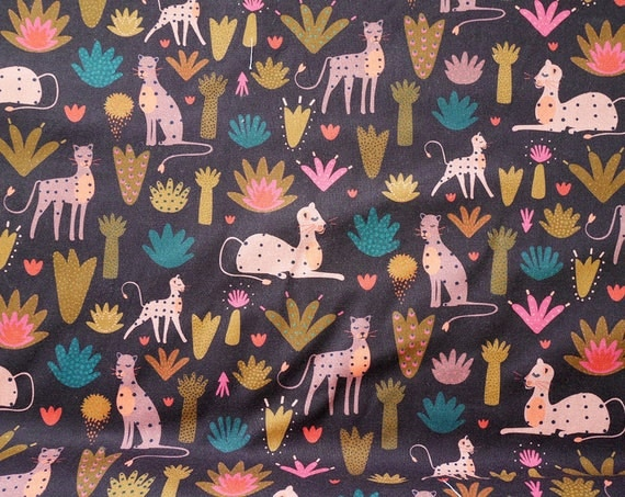 "50 cm (19,7"") fabric cotton Seregenti Dashwood Studio - Panthers - Brown - Pink - Teal - Khaki - green - 100% Cotton - 110cm width"