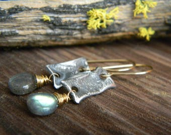 Luminous Labradorite Earrings  - Oxidized, Reticulated Silver and 14k Gold Filled dangle earrings