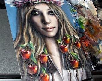 Eve -  original art by Tanya Bond - fantasy illustration oil painting regal apple blossom crown pop surrealism