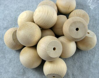 Unfinished Wooden Balls, Wooden 1 .5 inch Diameter, Craft Supplies, Wooden Shapes, Wood Balls Flat Bottoms