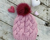 Squishy wool knit hat. Woven cable beanie. Finished product. Women's/tweens winter hat. Faux fur pompom toque. Pink chunky winter hat.