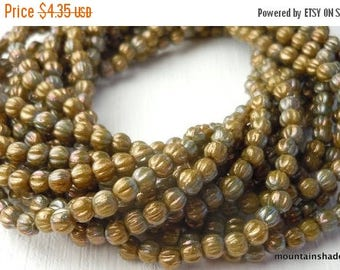 20% Summer SALE Melon Beads 3mm  - Premium Czech Glass Oxidized Bronze Chartreuse - 100 beads (G - 383)