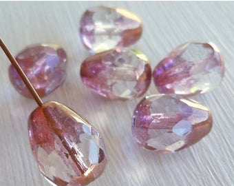 20% Summer SALE 6 13mm Large Faceted Drops Crystal Copper Picasso - Pink Tear Drop Bead - Czech Glass Beads (G - 350)