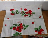 Mothers Day SALE vintage strawberry tea towel