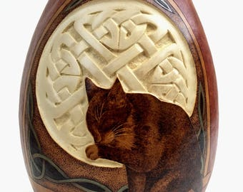 Cat in Celtic Window pyrography and carved wood burned Gourd Vase