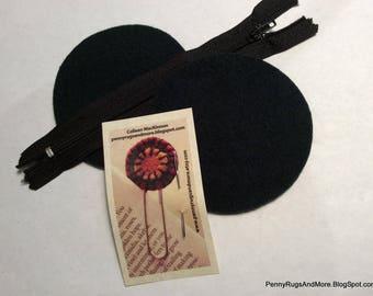 Circle Purse Blanks Dark Green Wool and Zipper