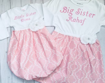 PERSONALIZED SISTER OUTFITS... little sister gown and big sister dress in pink and white --girls clothing..
