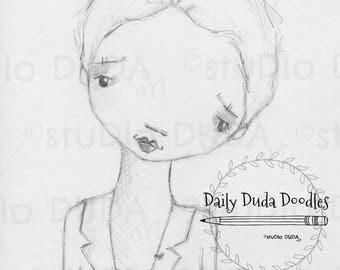 Daily Duda Doodles - #17 Rachel - Original Pencil Sketch by Diane Duda