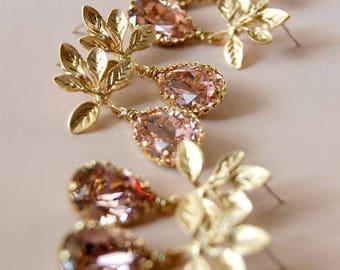 Bridesmaid Earrings, Vintage Rose Chandelier Swarovski Crystal Drop Earrings, Wedding Accessories Set of 3