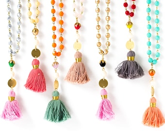 Tassel Necklace, Long Tassel Necklace, Long Necklace, Hippie Tassel Necklace, Necklace with Tassel, Bohemian Necklace, Necklace for wife