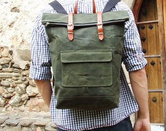 Waxed Canvas Backpack, Leather Canvas Backpack, Rucksack, Unisex Backpack, Waxed Canvas Bag