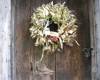 natural CoRN HuSK WReATH DECORATED  with DRIED flowers for wall or door decoration #2